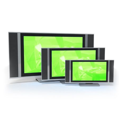 medium size: LCD screen TVs in 3 different sizes green Stock Photo