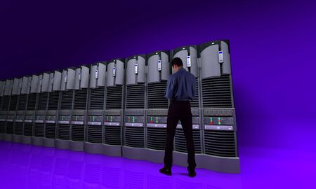 server farm: Young businessman standing in front of a server line