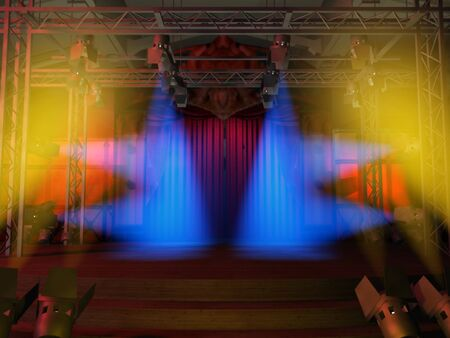 staging: Stage illuminated with blue and yellow spots, ready for the show Stock Photo