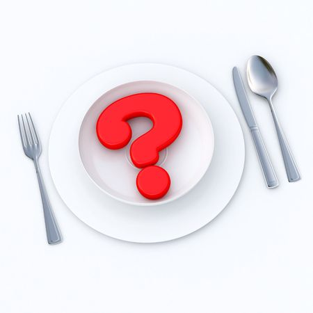 eating questions: 3D-rendering of a red question mark served in a plate ready to eat