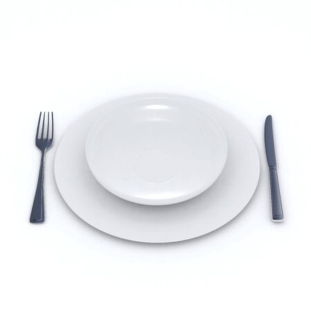 3D rendering of a place setting with two simple white dishes a fork and a spoon on a neutral background Stock Photo - 2114203