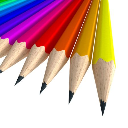 pencil writing: Close-up shot of a coloful pencil composition Stock Photo