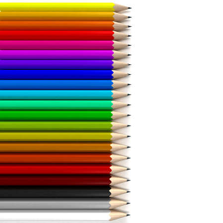 writing instrument: Different colored pencils in horizontal position