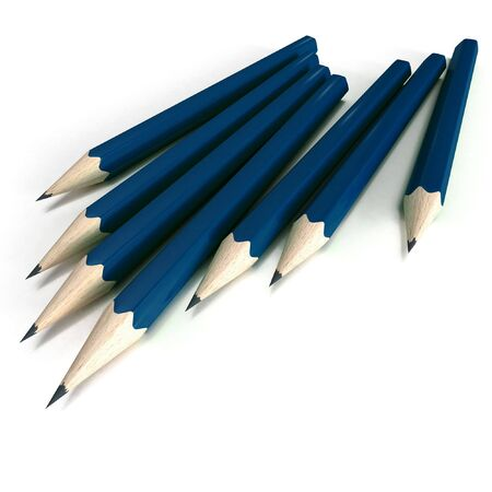 writing instrument: 3D rendering of blue pencils