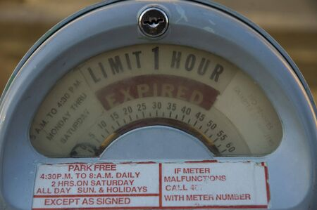 Close up shot of an old park meter  photo