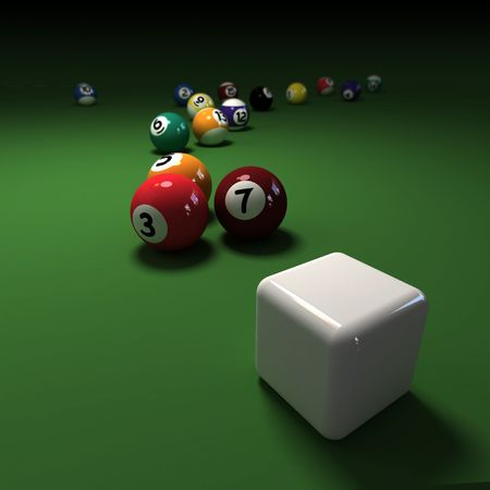 snooker balls: Billiards game with cubic cue ball