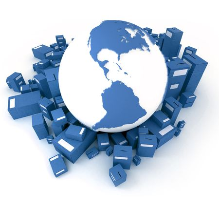 oriented: Blue Earth globe surrounded by packages oriented to America Stock Photo