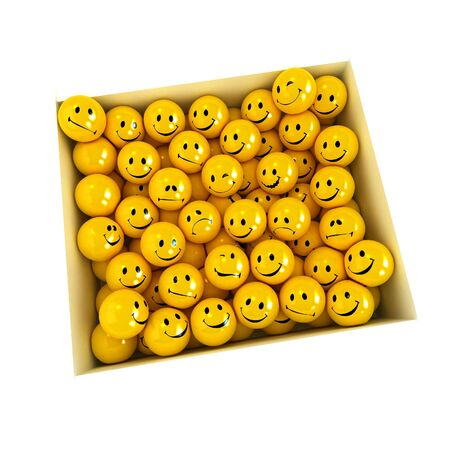 White box full of smilies in different moods on a neutral background Stock Photo