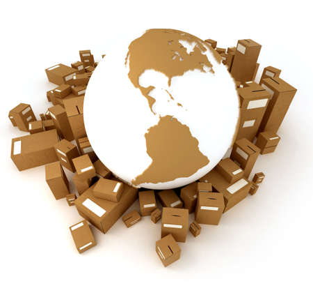 oriented: Brown Earth globe surrounded by packages oriented to America Stock Photo