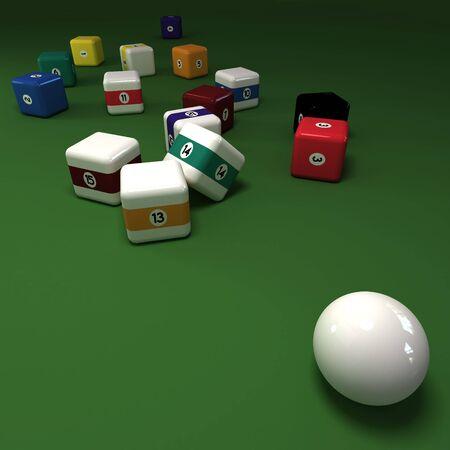 felt: Cubic billiards balls on a green felt table