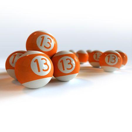 number 13: Orange billiard balls with number 13 against white background