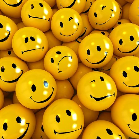 shinny: Lots of yellow Smilies with different facial  expressions Stock Photo