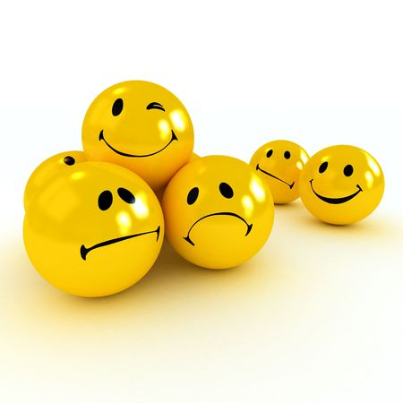 Yellow Winking smiley carried by sad and angry ones photo