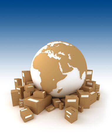 moving office: World globe in white and carboard texture, surrounded by packages and oriented to Africa