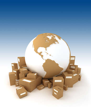 moving office: World globe in white and carboard texture, surrounded by packages and oriented to America