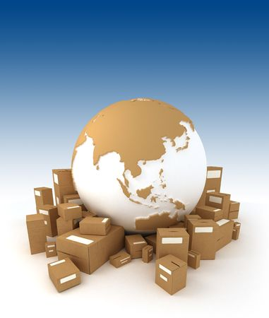 oriented: World globe in white and carboard texture, surrounded by packages and oriented to Asia Stock Photo