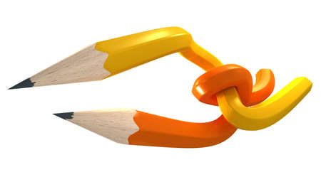 interlace: Yellow and orange pencils interlaced in an imposible shape