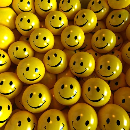 Lots of yellow happy smilies together photo
