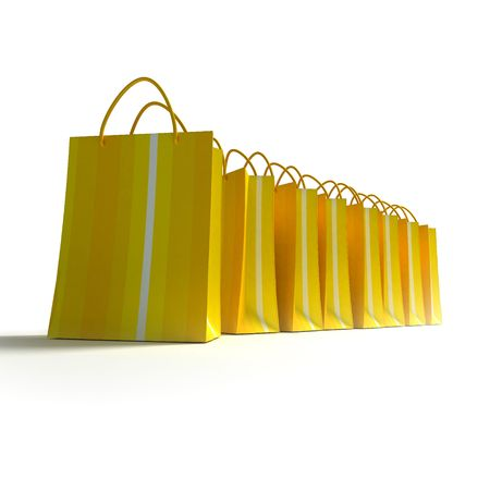 3D rendering of high quality looking yellow stripped shopping bags against a white background photo