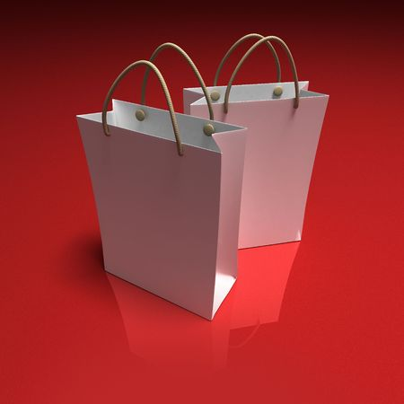 shinny: 3D rendering of a pair of high quality white shopping bags against a shinny red background