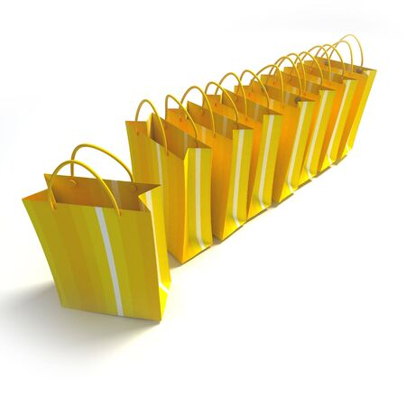 stripped: 3D rendering of high quality looking yellow stripped shopping bags against a white background
