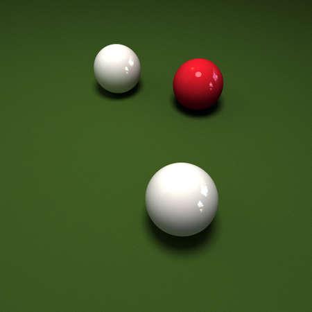 felt: Trio of billiard balls two white one red against green felt table