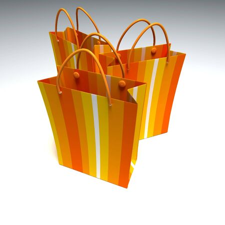 good quality: 3D rendering of a trio of good quality orange striped shopping bags against a white background Stock Photo