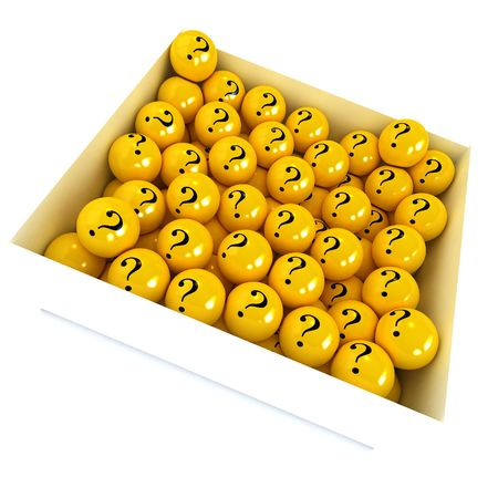 3D rendering of a white box full of yellow spheres with question marks photo