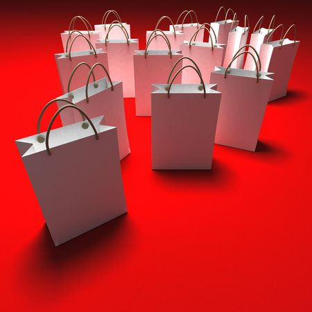 white paper bag: White paper shopping bags against a red background