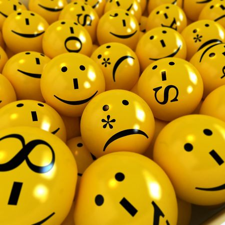 orthographic: 3D rendering of yellow emoticons with different orthographic symbols