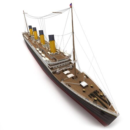 titanic: Aerial view of a 3D rendering of the Titanic