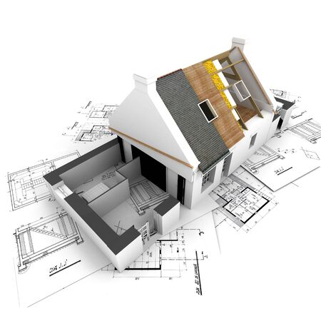 3d bungalow: House with exposed roof layers on top of architect blueprints.