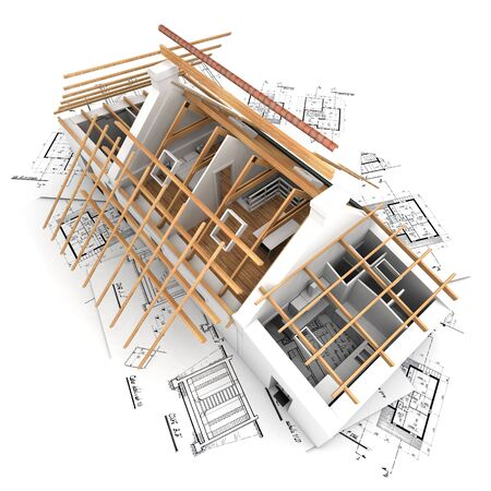 roofless: 3D rendering of a house in the process of roof construction