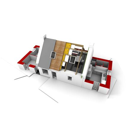 3D rendering of a roofless house on top of architect plans Stock Photo - 2460495