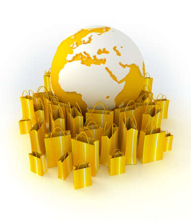 World globe surrounded by shopping bags in white and yellow shades photo