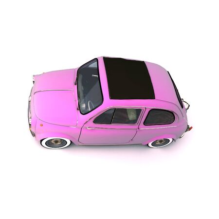 Aerial shot of q soft top pink retro car Stock Photo - 2460492