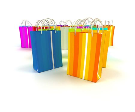 stripped: Colorful stripped shopping bags in different colors against a white background Stock Photo