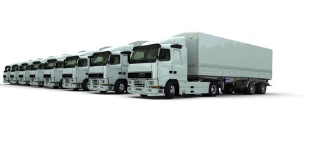convoy: 3D rendering of eight white trucks parked against a white background Stock Photo