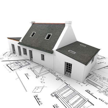 addition: 3D rendering of a house on top of architecture blueprints