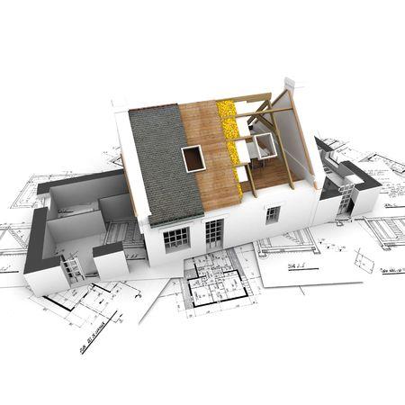fachadas de casa: Arquitectura de la casa modelo que muestra la construcci�n de la estructura Foto de archivo