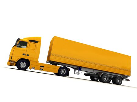 tarpaulin: Side view of a big yellow truck against a white background