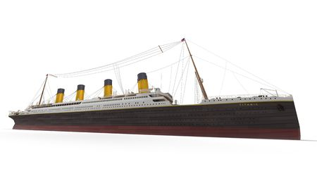 Side view of 3D rendering of the Titanic photo