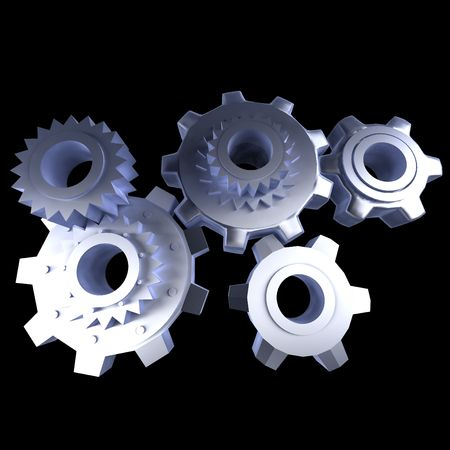 spur: Abstract gear mechanism against a black background