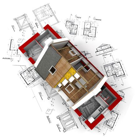 architect plans: 3D rendering of a roofless house on top of architect plans Stock Photo