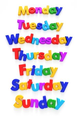working week: Days of the week formed with letter magnets