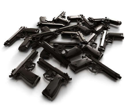 arsenal: Heap of guns lying on a white surface Stock Photo