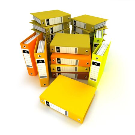 3D rendering, of a heap of  ring binders on a white background photo