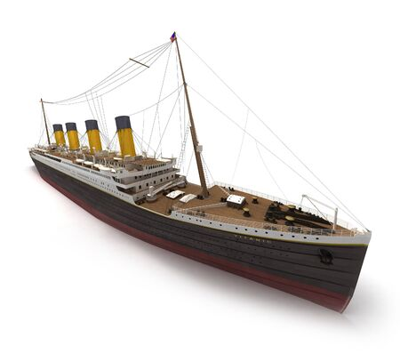 fare: Side view of 3D rendering of the Titanic