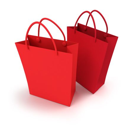 duo: Duo of red shopping bags against a white background