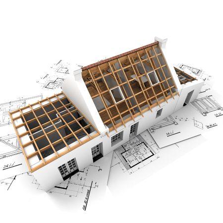 3D-rendering van een dakloos huis op de top van architect plannen